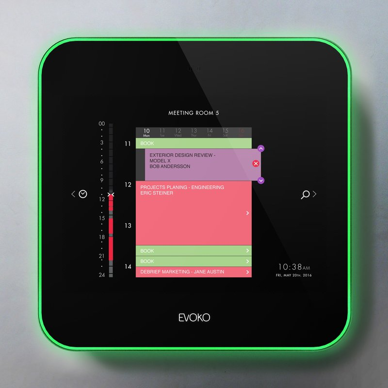 Evoko Liso Room Management Front Panel  Schedule