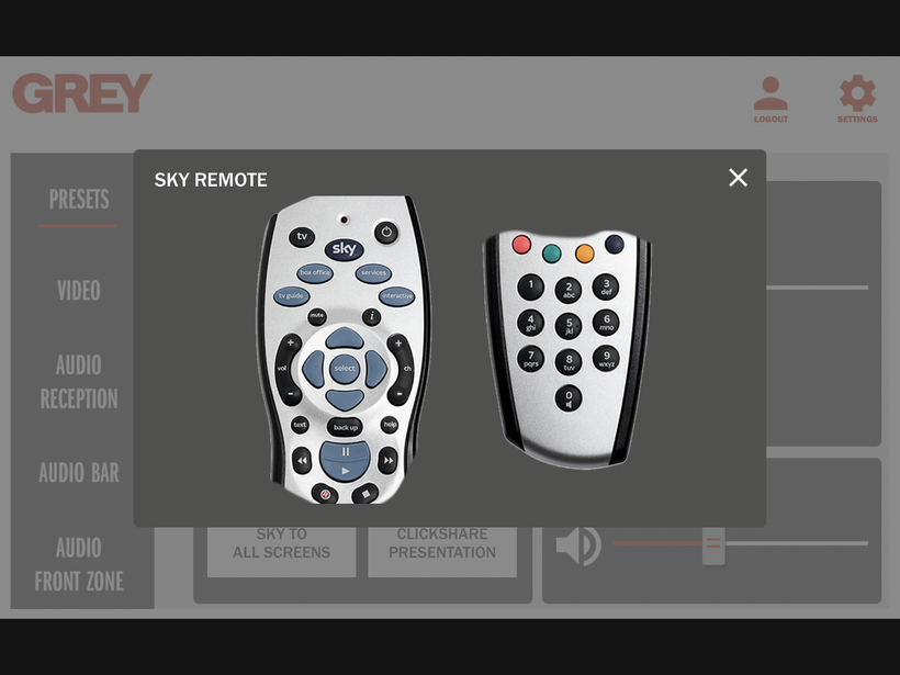 Grey GUI Sky remote