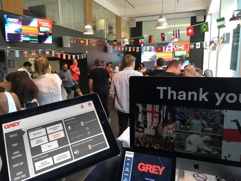 Grey London World Cup event with iPad GUI