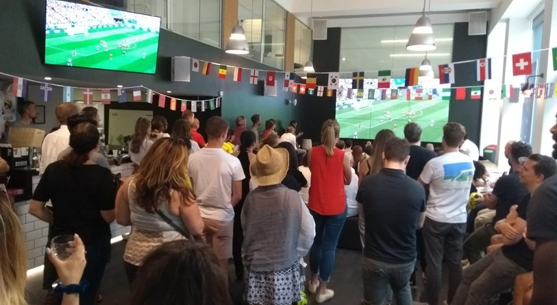 Grey London world cup on videowall