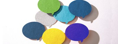 Testimonials Colourful Speech Bubbles
